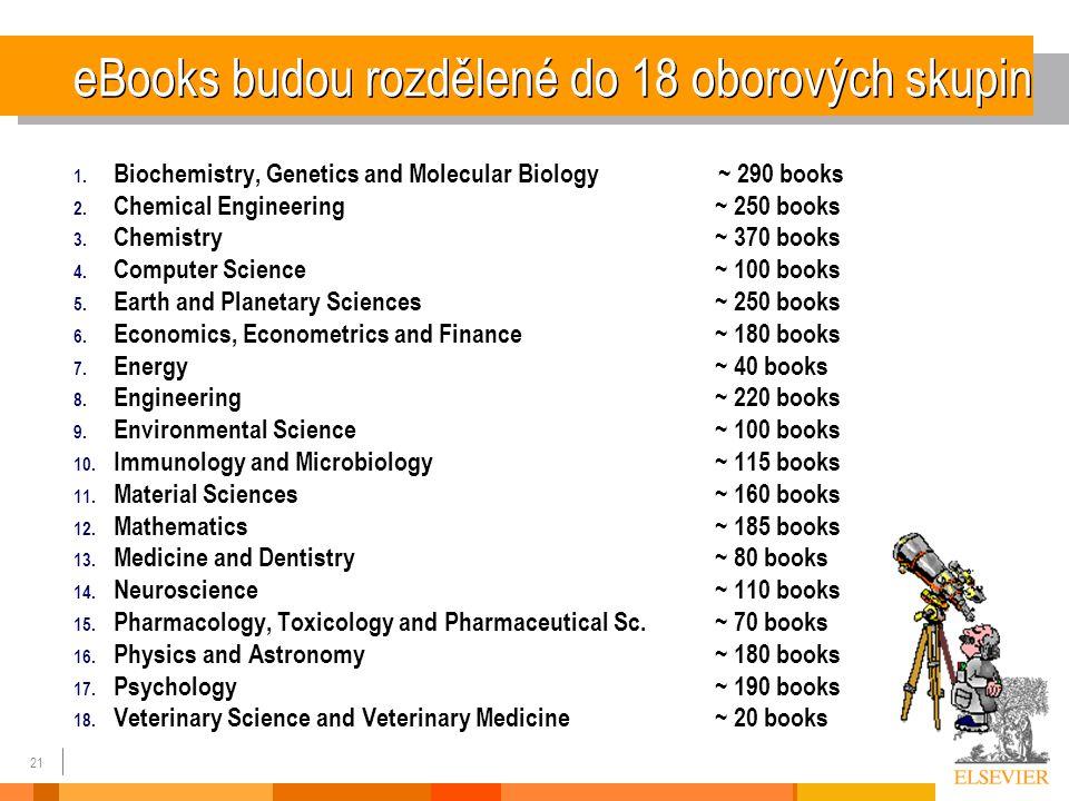 21 eBooks budou rozdělené do 18 oborových skupin 1.