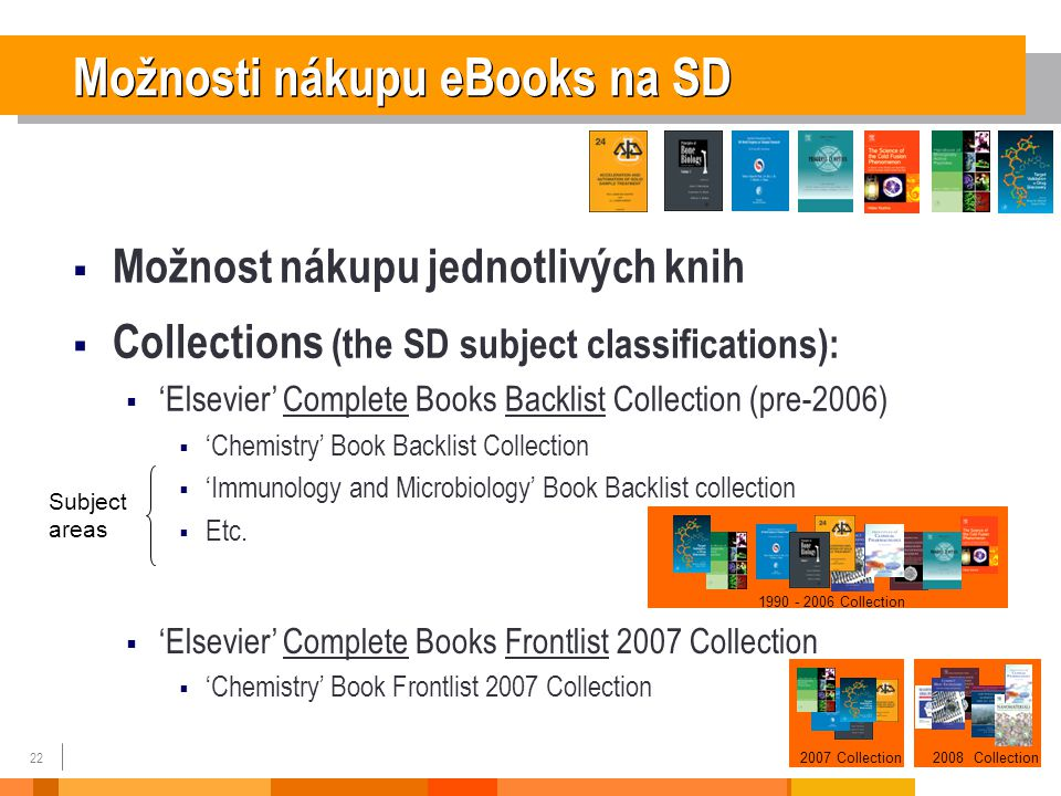 22  Collections (the SD subject classifications):  'Elsevier' Complete Books Backlist Collection (pre-2006)  'Chemistry' Book Backlist Collection  'Immunology and Microbiology' Book Backlist collection  Etc.