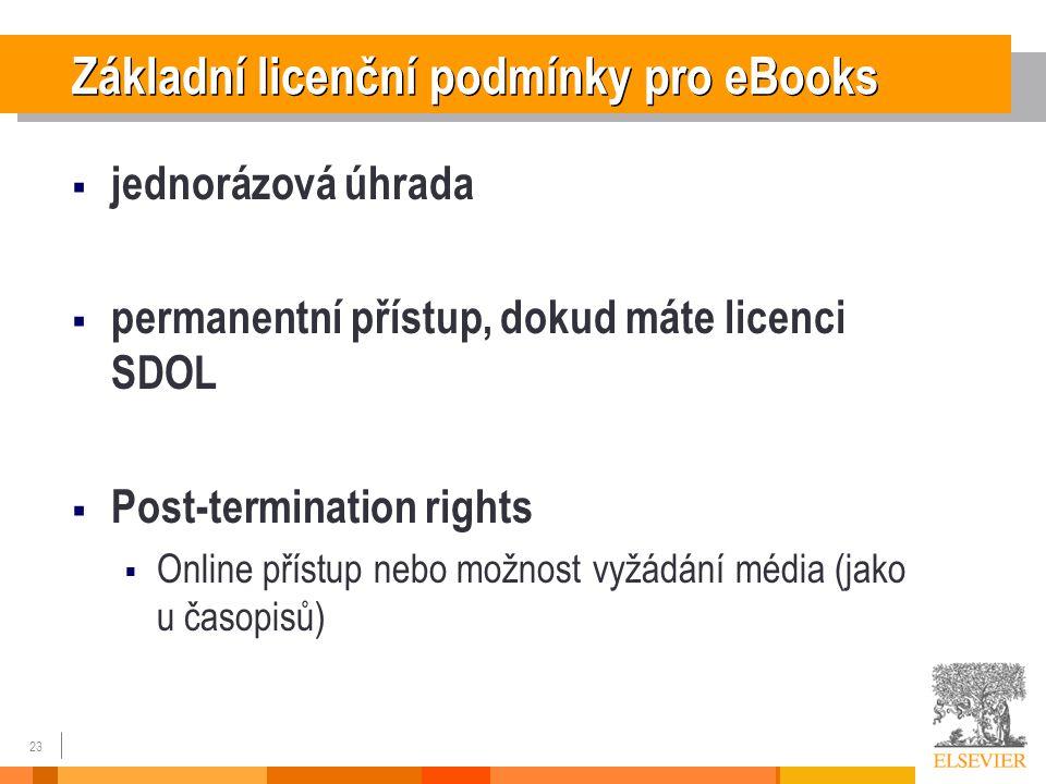 23 Základní licenční podmínky pro eBooks  jednorázová úhrada  permanentní přístup, dokud máte licenci SDOL  Post-termination rights  Online přístup nebo možnost vyžádání média (jako u časopisů)