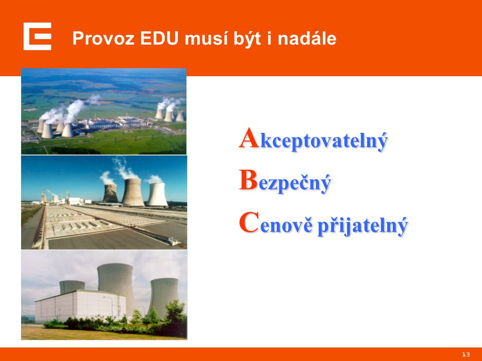 13 Provoz EDU musí být i nadále A kceptovatelný B ezpečný C enově přijatelný