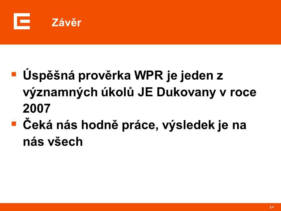 14 Závěr  Úspěšná prověrka WPR je jeden z významných úkolů JE Dukovany v roce 2007  Čeká nás hodně práce, výsledek je na nás všech