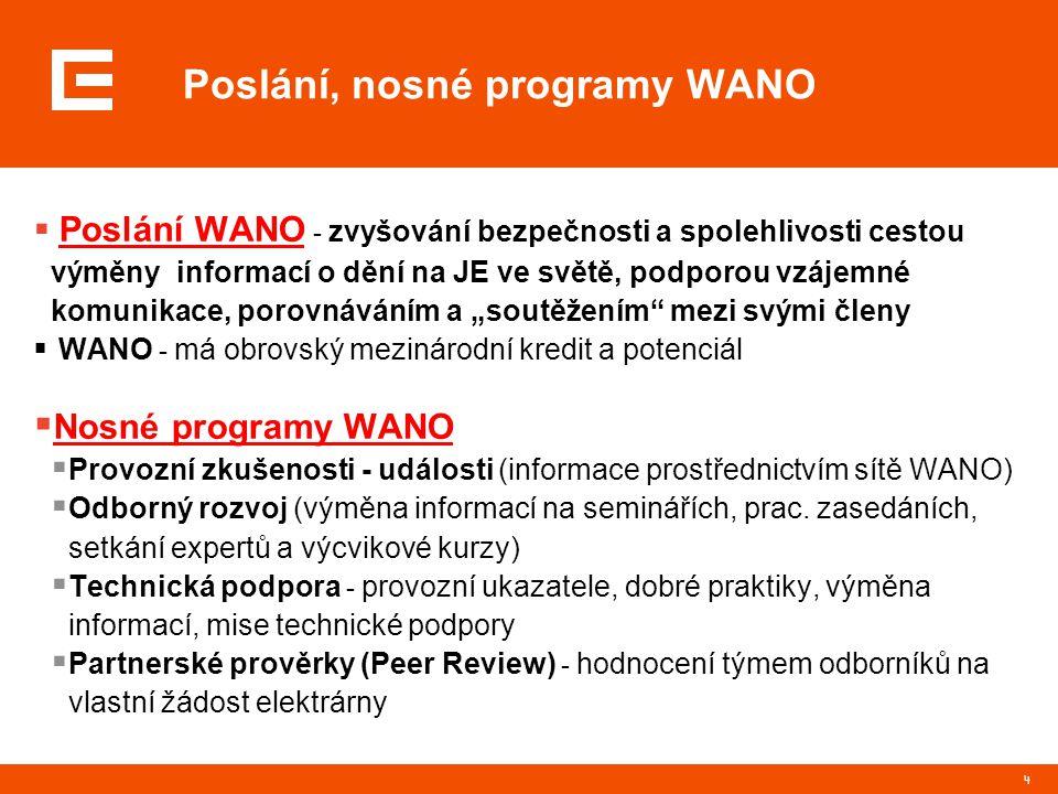 """4 Poslání, nosné programy WANO  Poslání WANO - zvyšování bezpečnosti a spolehlivosti cestou výměny informací o dění na JE ve světě, podporou vzájemné komunikace, porovnáváním a """"soutěžením mezi svými členy  WANO - má obrovský mezinárodní kredit a potenciál  Nosné programy WANO  Provozní zkušenosti - události (informace prostřednictvím sítě WANO)  Odborný rozvoj (výměna informací na seminářích, prac."""