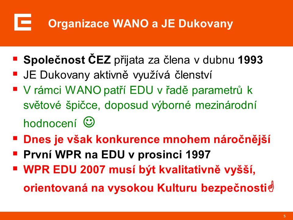 5  Společnost ČEZ přijata za člena v dubnu 1993  JE Dukovany aktivně využívá členství  V rámci WANO patří EDU v řadě parametrů k světové špičce, doposud výborné mezinárodní hodnocení  Dnes je však konkurence mnohem náročnější  První WPR na EDU v prosinci 1997  WPR EDU 2007 musí být kvalitativně vyšší, orientovaná na vysokou Kulturu bezpečnosti  Organizace WANO a JE Dukovany