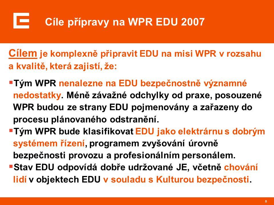 8 Cíle přípravy na WPR EDU 2007 Cílem je komplexně připravit EDU na misi WPR v rozsahu a kvalitě, která zajistí, že:  Tým WPR nenalezne na EDU bezpečnostně významné nedostatky.