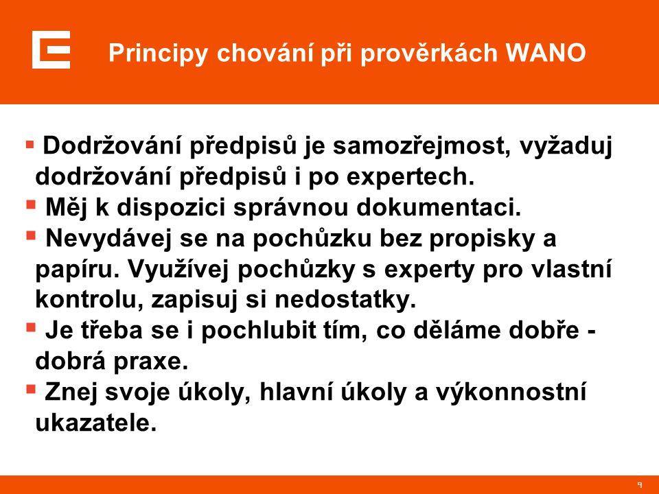 9 Principy chování při prověrkách WANO  Dodržování předpisů je samozřejmost, vyžaduj dodržování předpisů i po expertech.