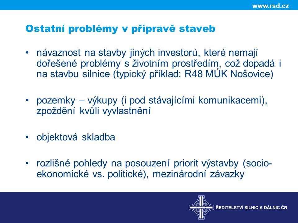 www.rsd.cz Ostatní problémy v přípravě staveb návaznost na stavby jiných investorů, které nemají dořešené problémy s životním prostředím, což dopadá i