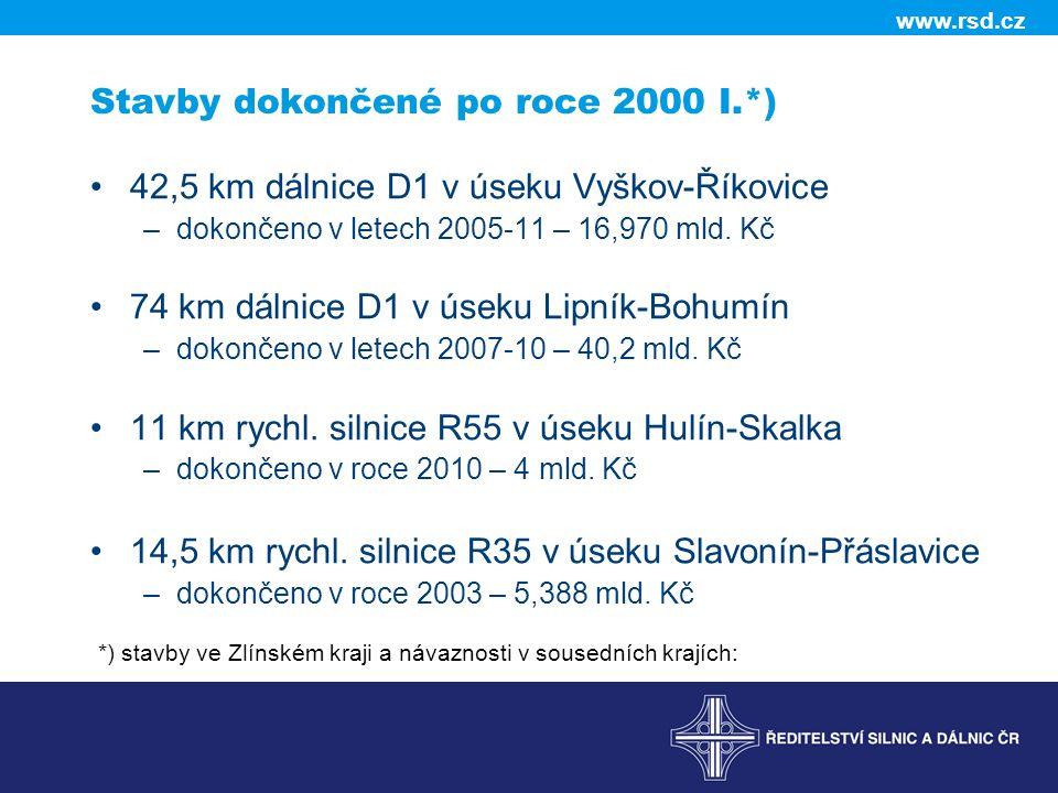 www.rsd.cz Stavby dokončené po roce 2000 I.*) 42,5 km dálnice D1 v úseku Vyškov-Říkovice –dokončeno v letech 2005-11 – 16,970 mld. Kč 74 km dálnice D1