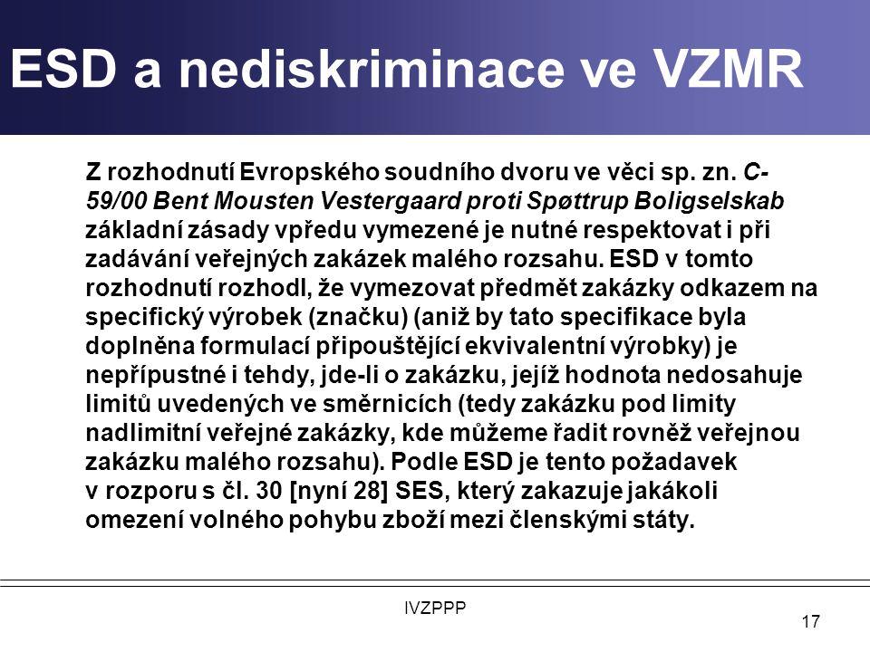 ESD a nediskriminace ve VZMR Z rozhodnutí Evropského soudního dvoru ve věci sp.