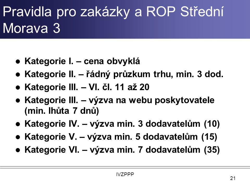 Pravidla pro zakázky a ROP Střední Morava 3 Kategorie I.