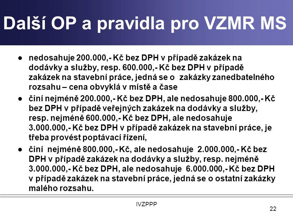 Další OP a pravidla pro VZMR MS nedosahuje 200.000,- Kč bez DPH v případě zakázek na dodávky a služby, resp.