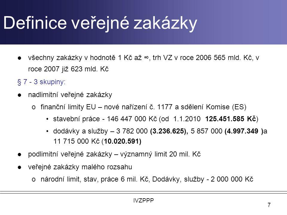 Definice veřejné zakázky všechny zakázky v hodnotě 1 Kč až ∞, trh VZ v roce 2006 565 mld.