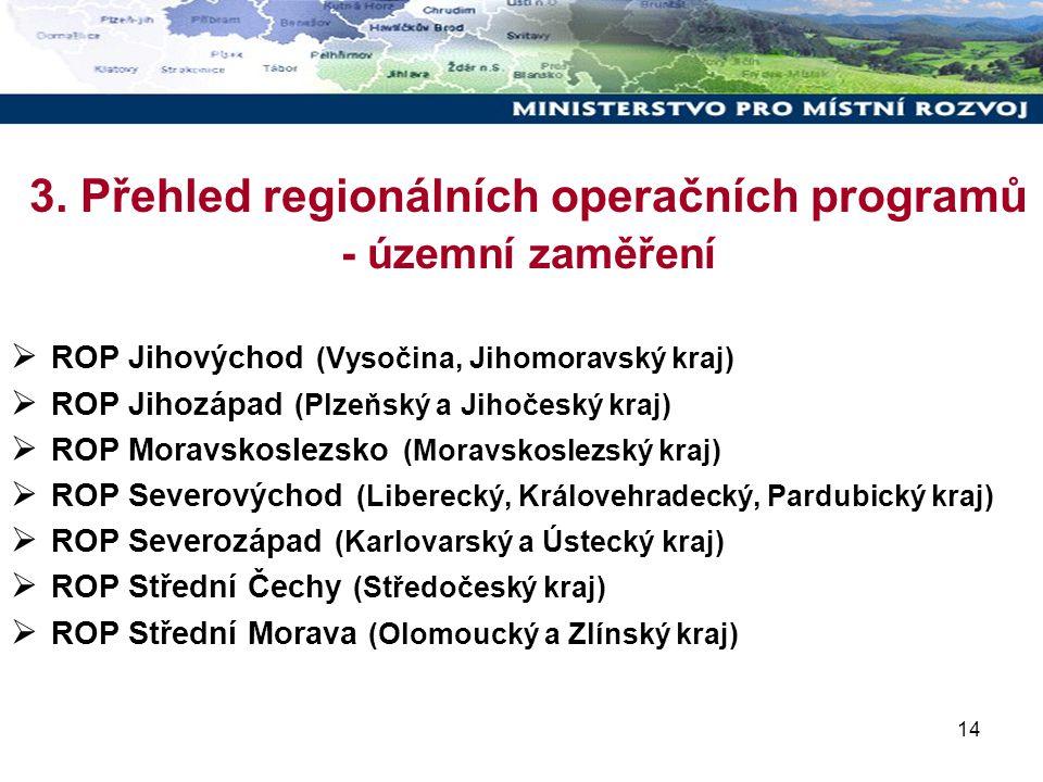 14 3. Přehled regionálních operačních programů - územní zaměření  ROP Jihovýchod (Vysočina, Jihomoravský kraj)  ROP Jihozápad (Plzeňský a Jihočeský