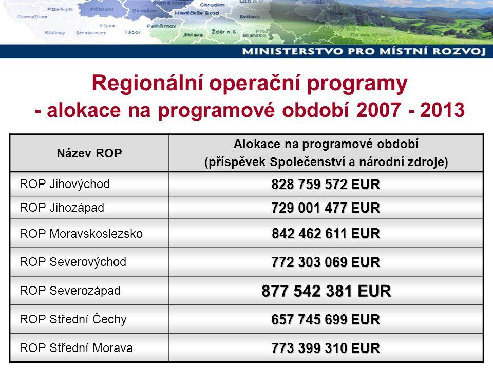 16 Regionální operační programy - alokace na programové období 2007 - 2013 Název ROP Alokace na programové období (příspěvek Společenství a národní zd