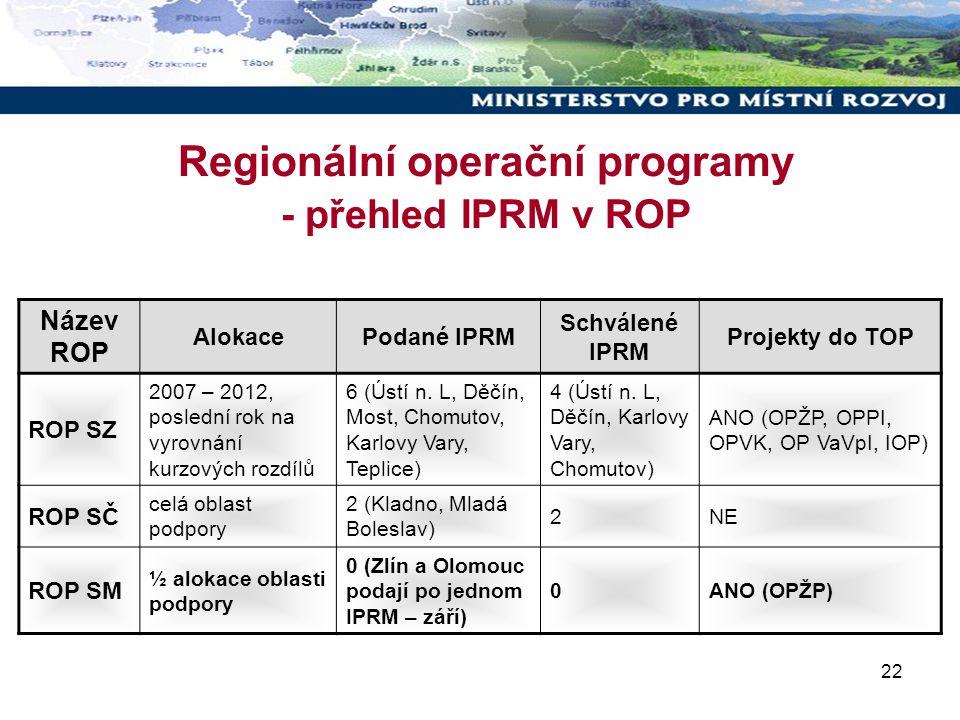 22 Regionální operační programy - přehled IPRM v ROP Název ROP AlokacePodané IPRM Schválené IPRM Projekty do TOP ROP SZ 2007 – 2012, poslední rok na vyrovnání kurzových rozdílů 6 (Ústí n.