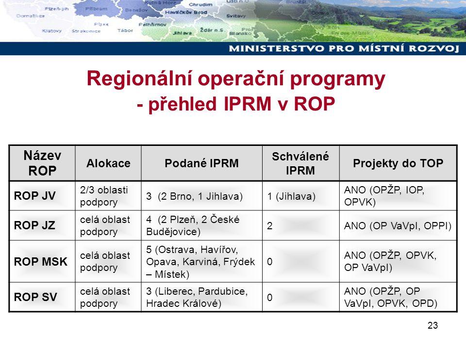 23 Regionální operační programy - přehled IPRM v ROP Název ROP AlokacePodané IPRM Schválené IPRM Projekty do TOP ROP JV 2/3 oblasti podpory 3 (2 Brno, 1 Jihlava)1 (Jihlava) ANO (OPŽP, IOP, OPVK) ROP JZ celá oblast podpory 4 (2 Plzeň, 2 České Budějovice) 2ANO (OP VaVpI, OPPI) ROP MSK celá oblast podpory 5 (Ostrava, Havířov, Opava, Karviná, Frýdek – Místek) 0 ANO (OPŽP, OPVK, OP VaVpI) ROP SV celá oblast podpory 3 (Liberec, Pardubice, Hradec Králové) 0 ANO (OPŽP, OP VaVpI, OPVK, OPD)