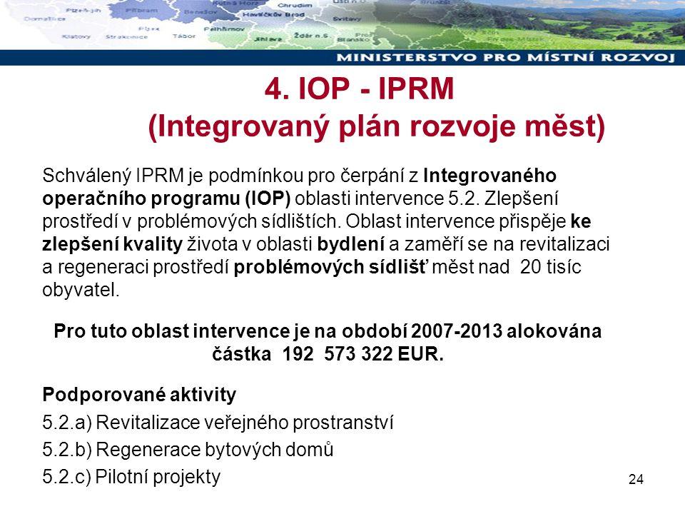 24 4. IOP - IPRM (Integrovaný plán rozvoje měst) Schválený IPRM je podmínkou pro čerpání z Integrovaného operačního programu (IOP) oblasti intervence