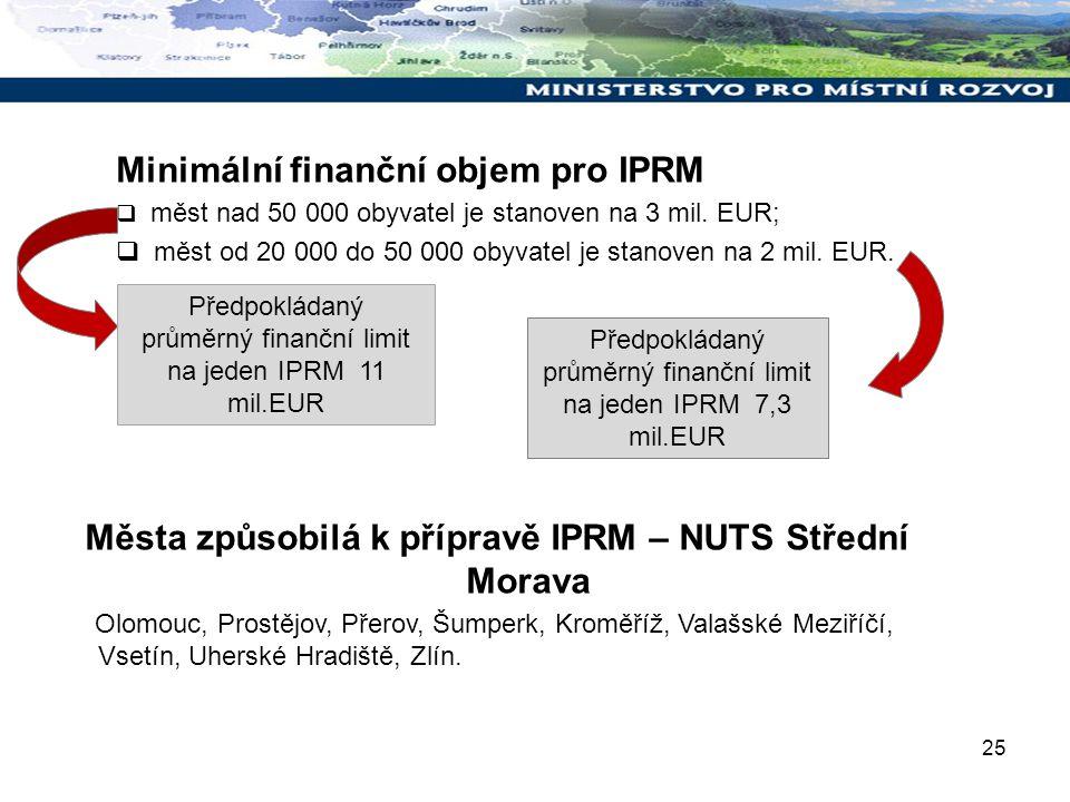 25 Minimální finanční objem pro IPRM  měst nad 50 000 obyvatel je stanoven na 3 mil. EUR;  měst od 20 000 do 50 000 obyvatel je stanoven na 2 mil. E
