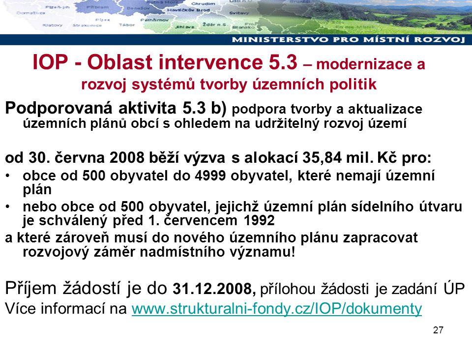 27 IOP - Oblast intervence 5.3 – modernizace a rozvoj systémů tvorby územních politik Podporovaná aktivita 5.3 b) podpora tvorby a aktualizace územních plánů obcí s ohledem na udržitelný rozvoj území od 30.