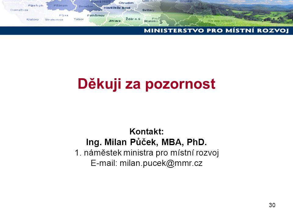 30 Děkuji za pozornost Kontakt: Ing. Milan Půček, MBA, PhD. 1. náměstek ministra pro místní rozvoj E-mail: milan.pucek@mmr.cz