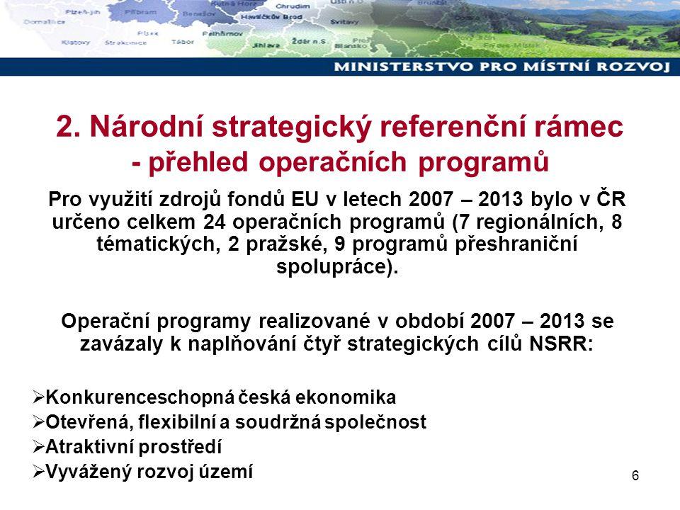 6 2. Národní strategický referenční rámec - přehled operačních programů Pro využití zdrojů fondů EU v letech 2007 – 2013 bylo v ČR určeno celkem 24 op