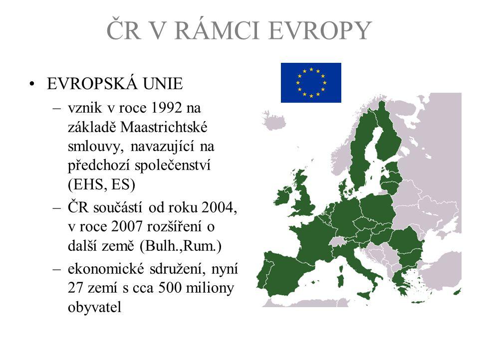 ČR V RÁMCI EVROPY EVROPSKÁ UNIE –vznik v roce 1992 na základě Maastrichtské smlouvy, navazující na předchozí společenství (EHS, ES) –ČR součástí od ro