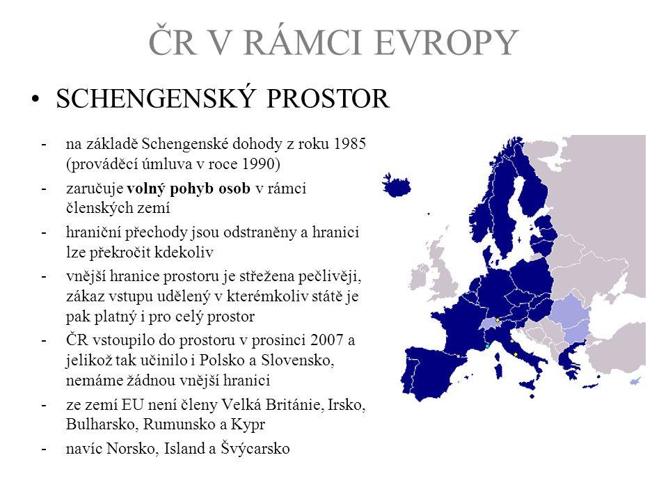 -na základě Schengenské dohody z roku 1985 (prováděcí úmluva v roce 1990) -zaručuje volný pohyb osob v rámci členských zemí -hraniční přechody jsou od