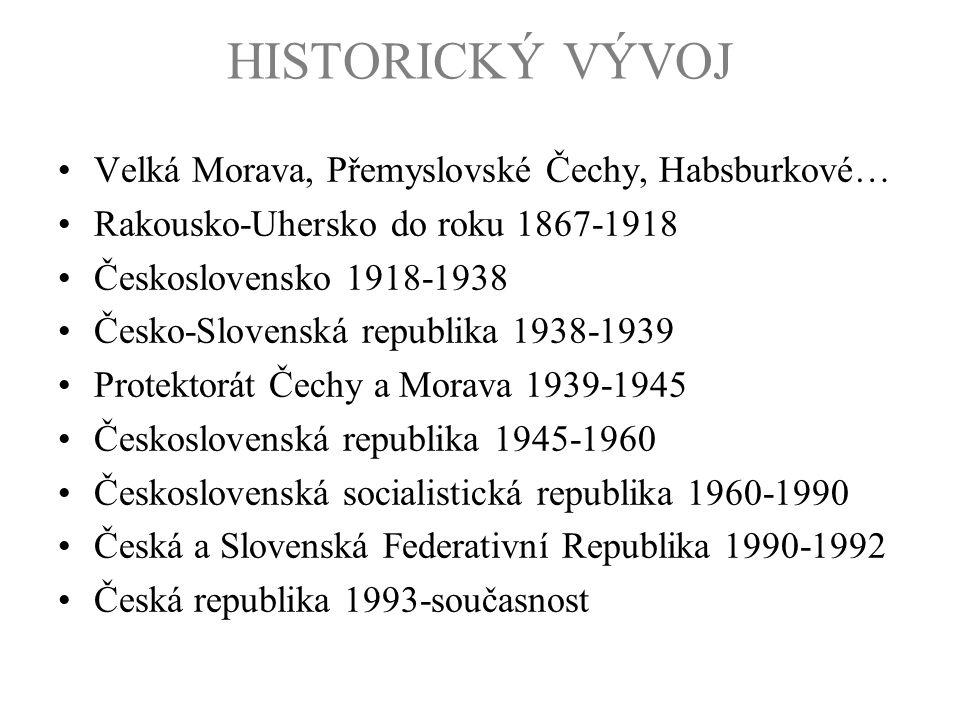 HISTORICKÝ VÝVOJ RAKOUSKO-UHERSKO 1867-1918 –státní útvar, vzniklý po prohrané rakousko-pruské válce přeměnou Habsburské monarchie na unii –dvě části Předlitavsko a Zalitavsko –součástí Předlitavska i Království České a Markrabství Moravské –v roce 1910 v mělo Rakousko-Uhersko 51 milionů obyvatel a 676 000 km 2 –unie dvou celků je patrná i na znaku