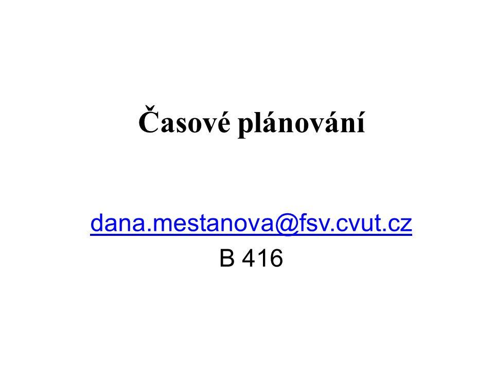 Časové plánování dana.mestanova@fsv.cvut.cz B 416