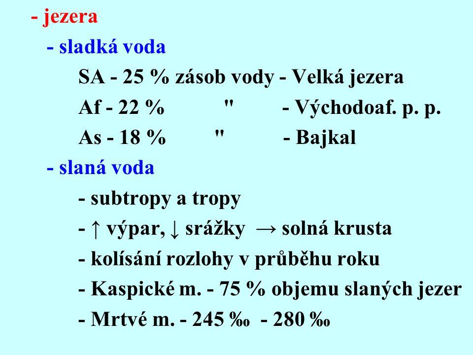 - jezera - sladká voda SA - 25 % zásob vody - Velká jezera Af - 22 %