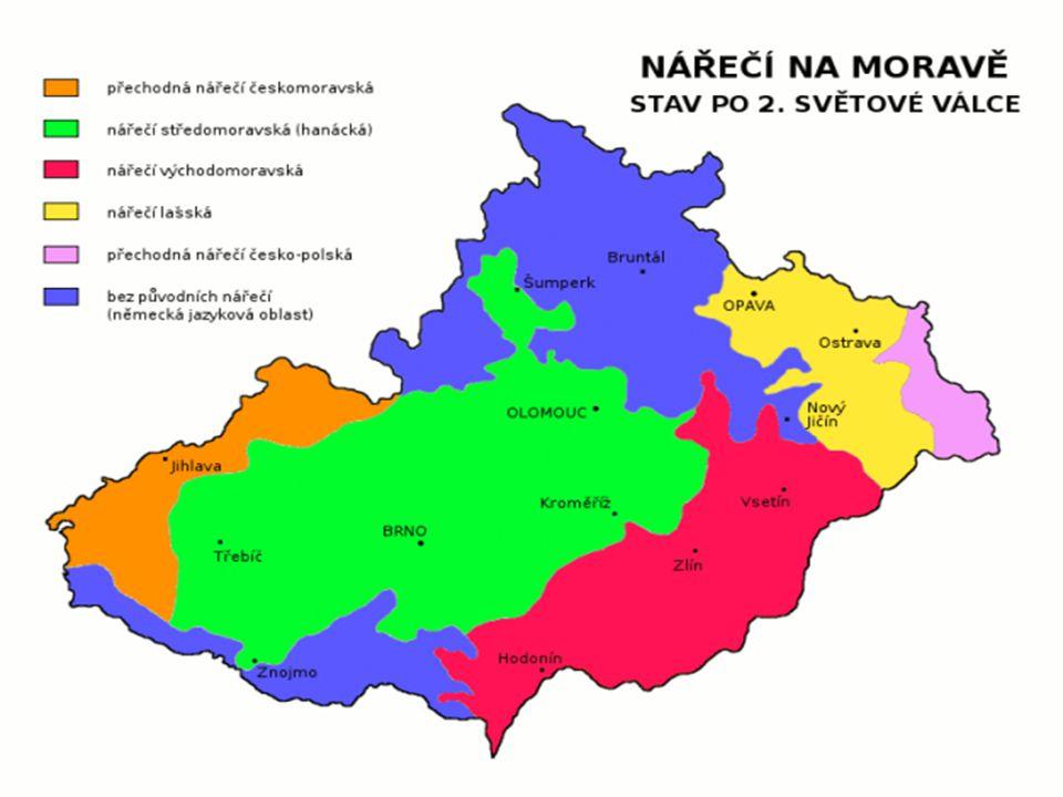 Mapový přehled základních skupin nářečí na Moravě