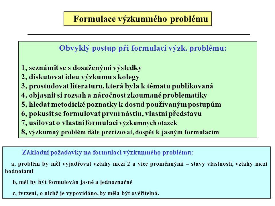 Formulace výzkumného problému Obvyklý postup při formulaci výzk. problému: 1, seznámit se s dosaženými výsledky 2, diskutovat ideu výzkumu s kolegy 3,
