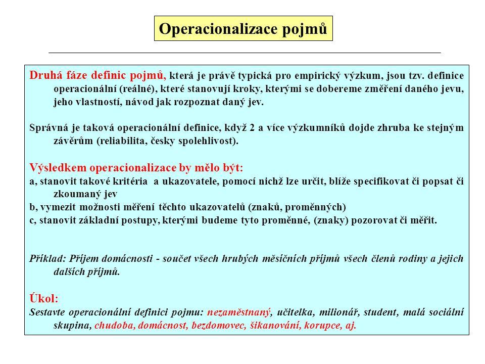 Operacionalizace pojmů Druhá fáze definic pojmů, která je právě typická pro empirický výzkum, jsou tzv. definice operacionální (reálné), které stanovu