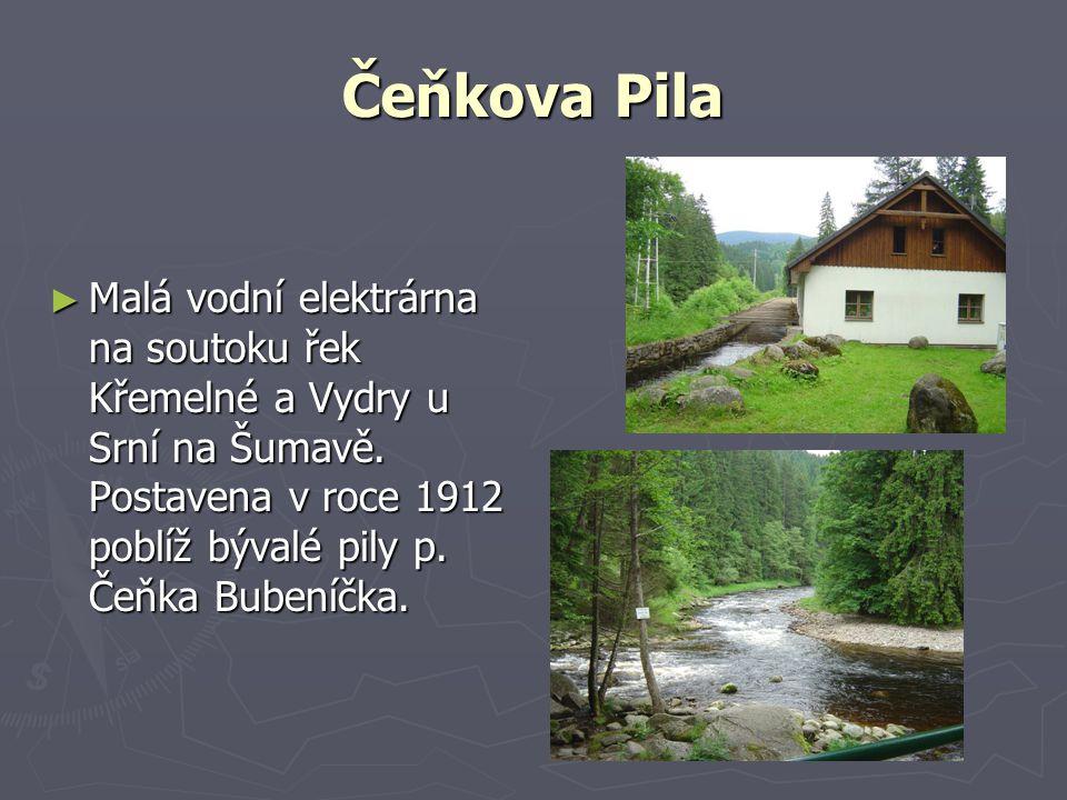 Čeňkova Pila ► Malá vodní elektrárna na soutoku řek Křemelné a Vydry u Srní na Šumavě.
