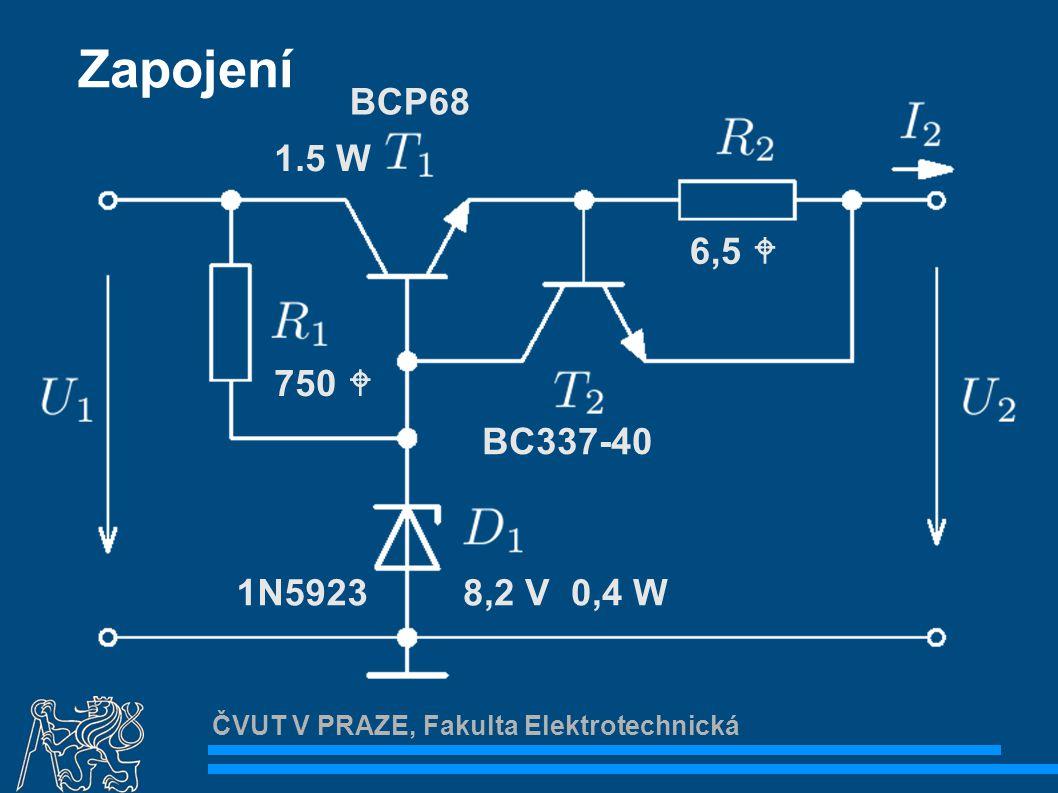ČVUT V PRAZE, Fakulta Elektrotechnická Převodní charakteristika Činitel stabilizace Minimální napětí U 1 cca 9 V U2U2 U1U1