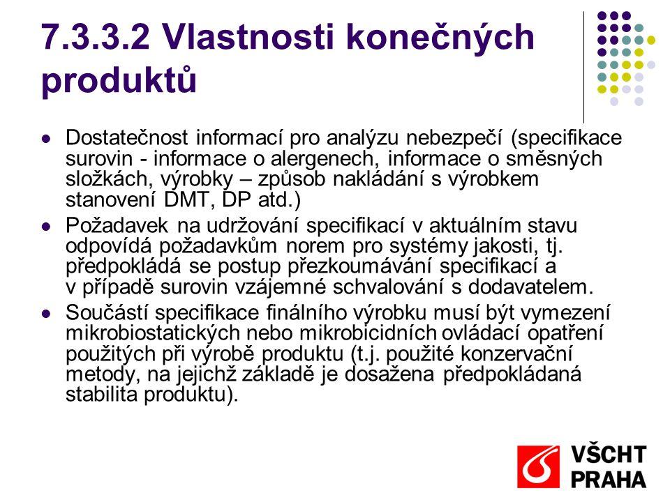 7.3.3.2 Vlastnosti konečných produktů Dostatečnost informací pro analýzu nebezpečí (specifikace surovin - informace o alergenech, informace o směsných složkách, výrobky – způsob nakládání s výrobkem stanovení DMT, DP atd.) Požadavek na udržování specifikací v aktuálním stavu odpovídá požadavkům norem pro systémy jakosti, tj.