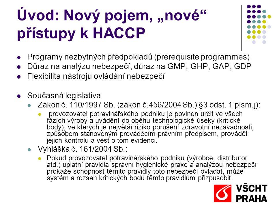 """Úvod: Nový pojem, """"nové přístupy k HACCP Programy nezbytných předpokladů (prerequisite programmes) Důraz na analýzu nebezpečí, důraz na GMP, GHP, GAP, GDP Flexibilita nástrojů ovládání nebezpečí Současná legislativa Zákon č."""