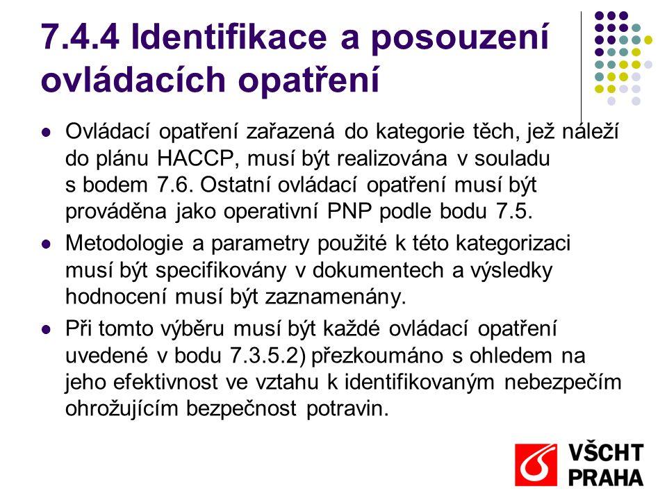 7.4.4 Identifikace a posouzení ovládacích opatření Ovládací opatření zařazená do kategorie těch, jež náleží do plánu HACCP, musí být realizována v souladu s bodem 7.6.