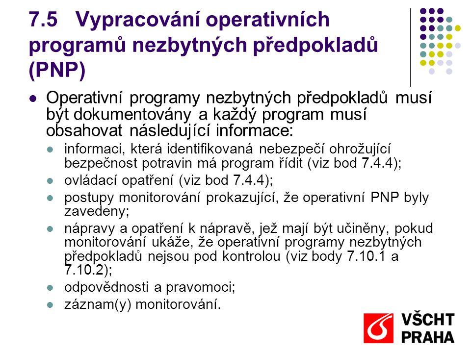 7.5Vypracování operativních programů nezbytných předpokladů (PNP) Operativní programy nezbytných předpokladů musí být dokumentovány a každý program musí obsahovat následující informace: informaci, která identifikovaná nebezpečí ohrožující bezpečnost potravin má program řídit (viz bod 7.4.4); ovládací opatření (viz bod 7.4.4); postupy monitorování prokazující, že operativní PNP byly zavedeny; nápravy a opatření k nápravě, jež mají být učiněny, pokud monitorování ukáže, že operativní programy nezbytných předpokladů nejsou pod kontrolou (viz body 7.10.1 a 7.10.2); odpovědnosti a pravomoci; záznam(y) monitorování.
