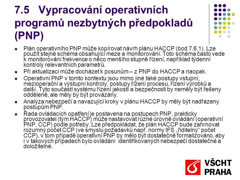 7.5Vypracování operativních programů nezbytných předpokladů (PNP) Plán operativního PNP může kopírovat návrh plánu HACCP (bod 7.6.1).