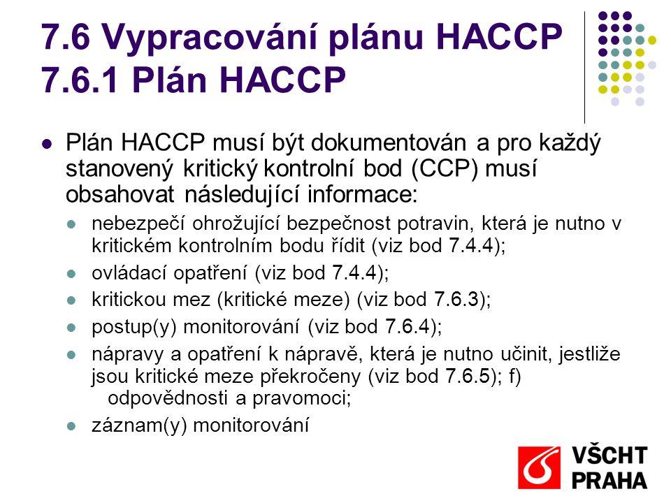 7.6 Vypracování plánu HACCP 7.6.1 Plán HACCP Plán HACCP musí být dokumentován a pro každý stanovený kritický kontrolní bod (CCP) musí obsahovat následující informace: nebezpečí ohrožující bezpečnost potravin, která je nutno v kritickém kontrolním bodu řídit (viz bod 7.4.4); ovládací opatření (viz bod 7.4.4); kritickou mez (kritické meze) (viz bod 7.6.3); postup(y) monitorování (viz bod 7.6.4); nápravy a opatření k nápravě, která je nutno učinit, jestliže jsou kritické meze překročeny (viz bod 7.6.5); f) odpovědnosti a pravomoci; záznam(y) monitorování