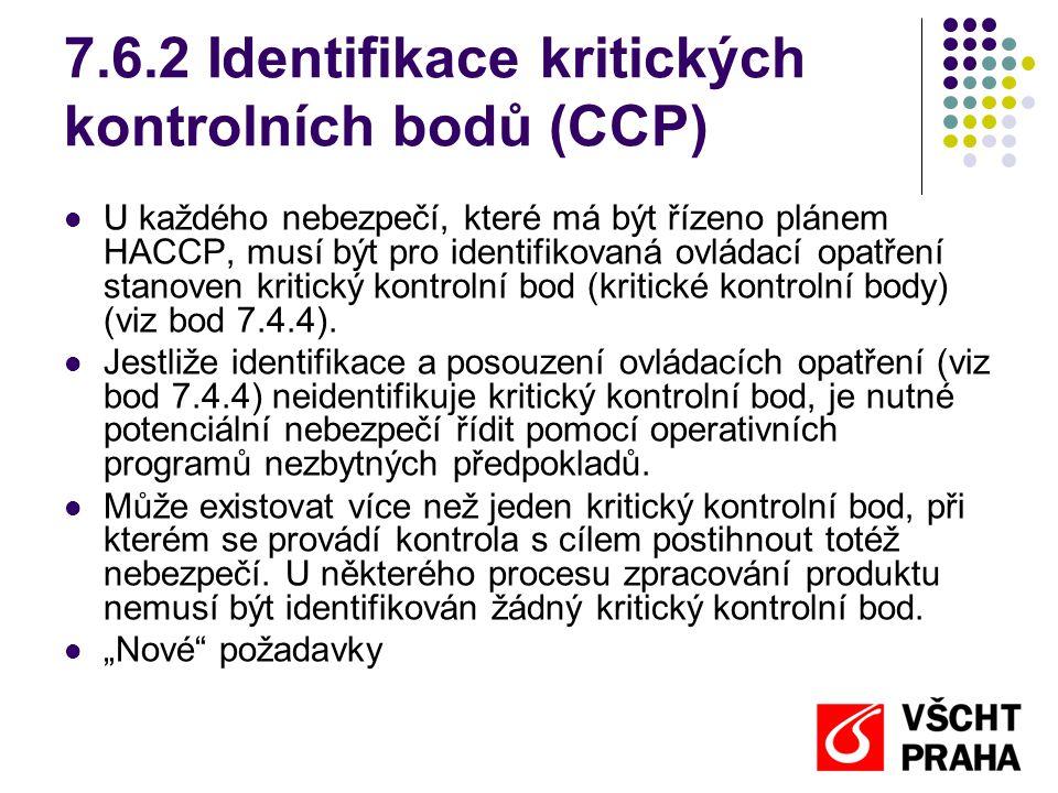 7.6.2 Identifikace kritických kontrolních bodů (CCP) U každého nebezpečí, které má být řízeno plánem HACCP, musí být pro identifikovaná ovládací opatření stanoven kritický kontrolní bod (kritické kontrolní body) (viz bod 7.4.4).