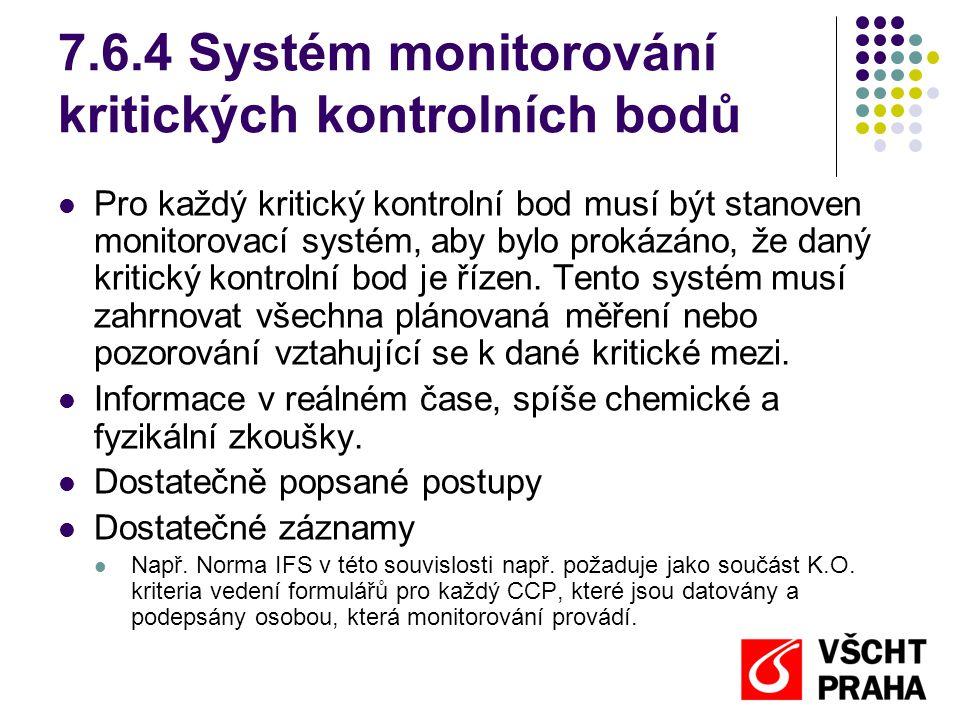 7.6.4 Systém monitorování kritických kontrolních bodů Pro každý kritický kontrolní bod musí být stanoven monitorovací systém, aby bylo prokázáno, že daný kritický kontrolní bod je řízen.