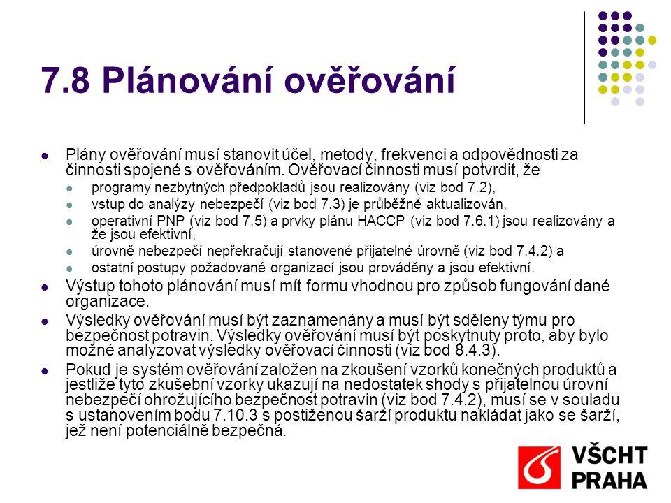 7.8 Plánování ověřování Plány ověřování musí stanovit účel, metody, frekvenci a odpovědnosti za činnosti spojené s ověřováním.