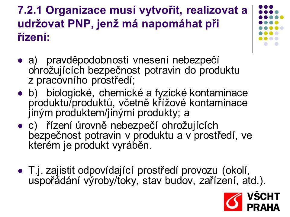 7.2.2 Program nezbytných předpokladů musí a)odpovídat potřebám organizace pokud jde o bezpečnost potravin, b)odpovídat rozsahu a typu provozu a povaze produktů, jež se vyrábějí a/nebo s nimiž se nakládá.