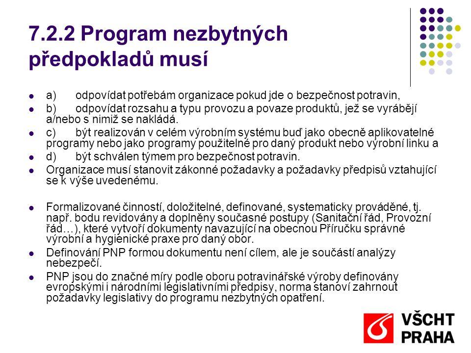 7.3.5.2 Popis kroků procesu a ovládacích opatření Ovládací opatření představují široké spektrum činností, jedná se zejména o: a) uplatnění programů nezbytných předpokladů (jsou uplatňovány principy správné výrobní a hygienické praxe, výroba probíhá v odpovídajícím prostředí), jsou uplatněny operativní PNP (jsou zavedeny a dodržovány postupy správné výrobní a hygienické praxe, jako např.