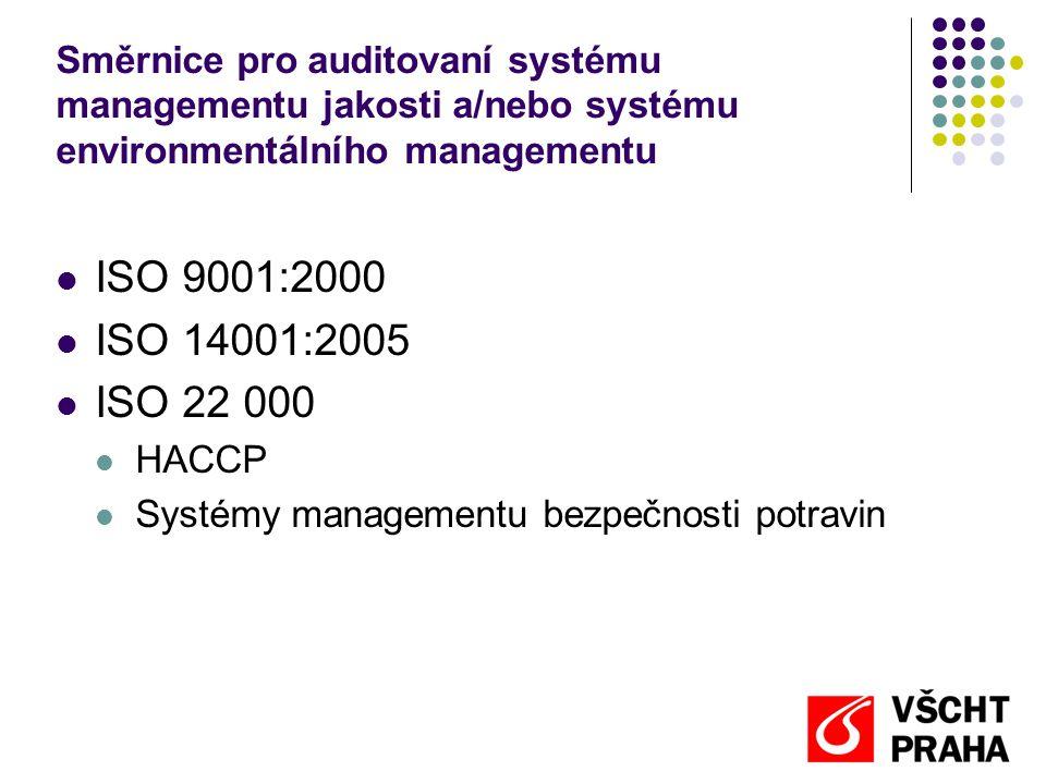 Směrnice pro auditovaní systému managementu jakosti a/nebo systému environmentálního managementu ISO 9001:2000 ISO 14001:2005 ISO 22 000 HACCP Systémy managementu bezpečnosti potravin