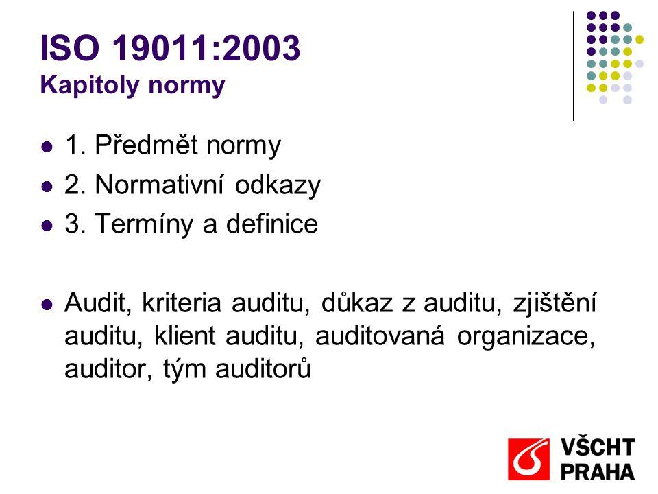 ISO 19011:2003 Kapitoly normy 1.Předmět normy 2. Normativní odkazy 3.