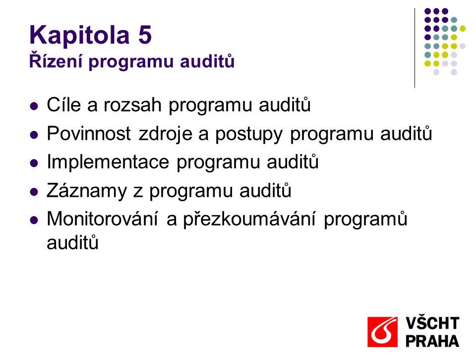 Kapitola 5 Řízení programu auditů Cíle a rozsah programu auditů Povinnost zdroje a postupy programu auditů Implementace programu auditů Záznamy z programu auditů Monitorování a přezkoumávání programů auditů