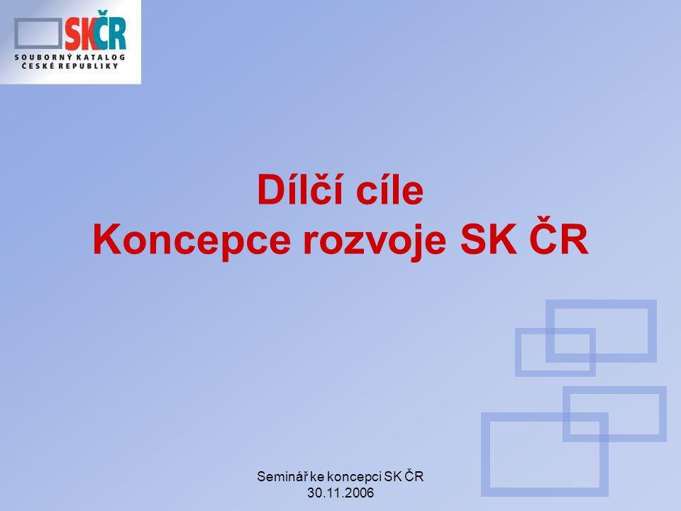 Seminář ke koncepci SK ČR 30.11.2006 Dílčí cíle Koncepce rozvoje SK ČR
