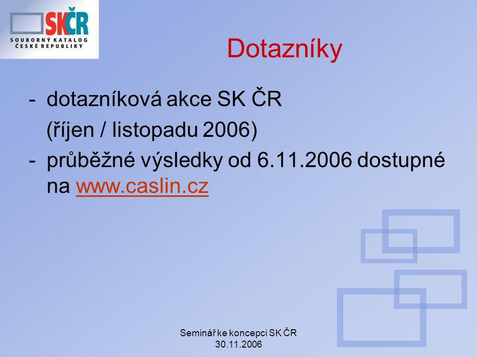 Seminář ke koncepci SK ČR 30.11.2006 Dotazníky -dotazníková akce SK ČR (říjen / listopadu 2006) -průběžné výsledky od 6.11.2006 dostupné na www.caslin.czwww.caslin.cz